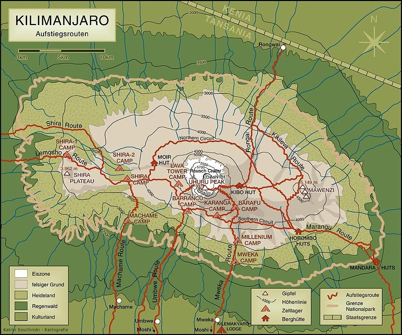 Die Routen am Kilimanjaro